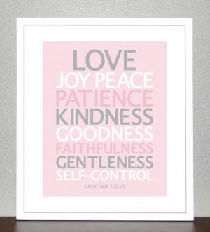 Nursery Decor Bible Verse Love Joy Peace by CreativeWildChild, $20.00