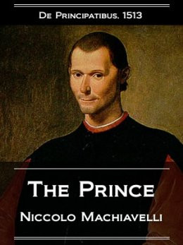 book cover of The Prince and portrait of Machiavelli himself