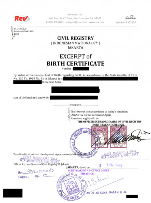 Translate Indonesian Birth Certificate