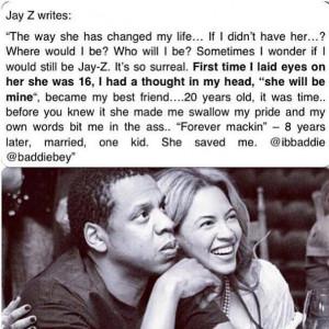 Jay z on Beyoncé : true love : Beyoncé
