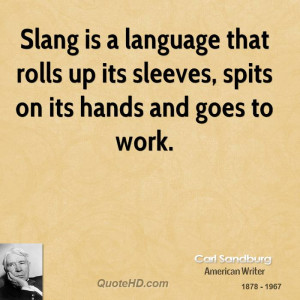 Slang is a language that rolls up its sleeves, spits on its hands and ...