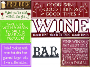 Wine and Spirits Wood Signs