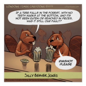 Silly Beaver Jokes Funny Cartoon Poster