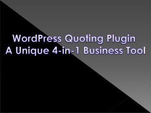 Unique Business Tool WordPress Quote Engine