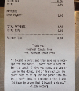 Doughnut Shop Employee Inserts Funny Quote Into Official Receipts