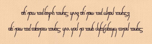 Lord of the Rings - One Ring to rule them all Quote in Elvish - Needle ...