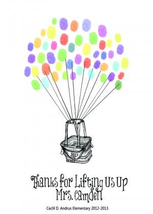 Teacher Hot Air Balloon Thumbprint Art