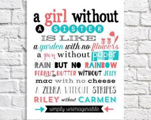 Sister Quote Print. Bi g Sister Little Sister Birthday Gift ...