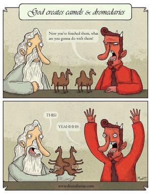 Funny photos funny camels dromedaries God Devil