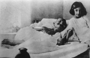 With M. K. Gandhi fasting, mid 1920s