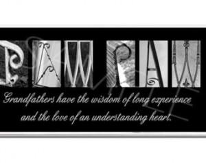 PAW PAW Poppy, Gramps, Grandpa Ins pirational Plaque black & white ...