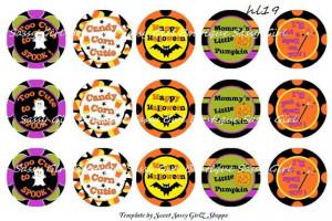 Cute Girly Halloween Sayings Digital Bottlecap Image Sheet