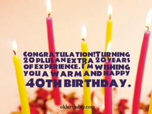 Congratulation!Turning 20 plus an extra 20 years of experience. I'm ...