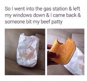 funny beef patty bite car