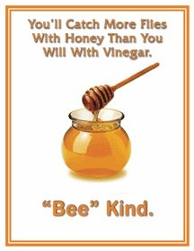 You'll catch more flies with honey than you will with vinegar.