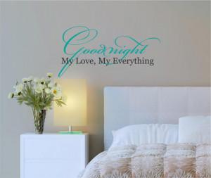 Goodnight My Love Everything Romance Baby Vinyl Decor Wall Subway art ...