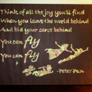 Peter Pan quote on canvas