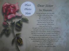 Loss of a Sister | DEAR SISTER IN HEAVEN MEMORIAL POEM GIFT FOR LOSS ...