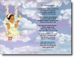 SPECIAL GRANDDAUGHTER ETHNIC ANGEL POEM PRINT