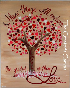 ... Hope, and Love Painting. Scripture, Bible Verse, Love and Hearts Tree