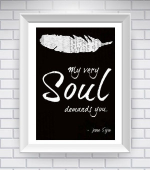 Quote Typography Print - Black and White - Jane Eyre Love Quote ...