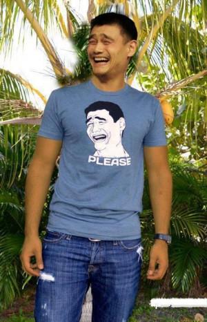 Yao Ming Wearing Yao Ming Face Shirt