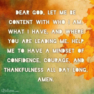 God, Let me be content with myself