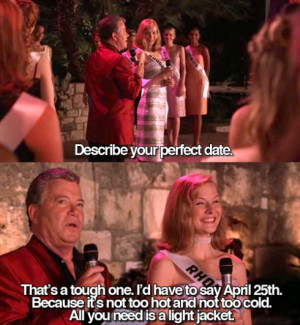 ... to describe her perfect date. Her choice? April 25th, which is today