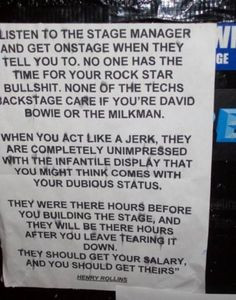Henry Rollins on Rock Stars -for all of my theatre/ stage crew peeps ...