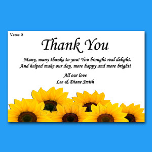 ... Personalised Wedding Thank You Cards + Envelopes. 4 pre worded verses