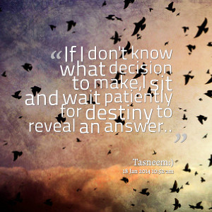 Quotes Picture: if i don't know what decision to make,i sit and wait ...