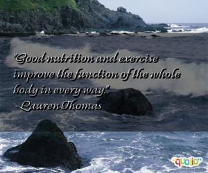 Good nutrition and exercise improve the function of the whole body in ...