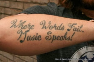 Music quote tattoo for women