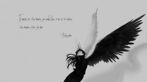 BLACK END WHITE - angel wings quotes sad wallpaper background