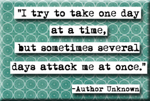 try to take life one day at a time but sometimes several days
