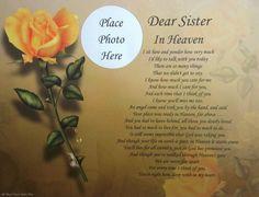 dear sister in heaven | Dear Sister in Heaven Memorial Poem Gift for ...