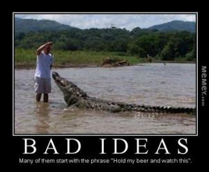 funny feeding crocodile beer