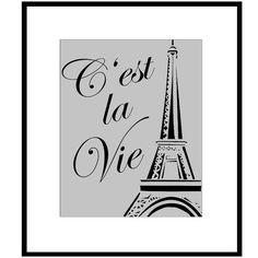 Paris C'est La Vie - 8 x 10 French Quote Print with Eiffel Tower Image ...