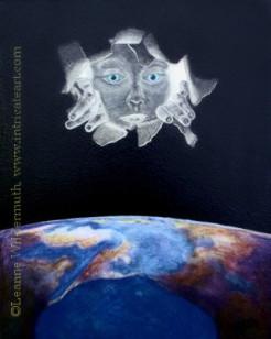 surrealism oil pastel painting earth god omniscient observation