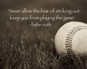 Babe Ruth Quote Baseball Art-Photog raphy-Boys Room Decor-Boys Nursery ...