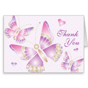 Butterflies Hearts Thank You Card picture