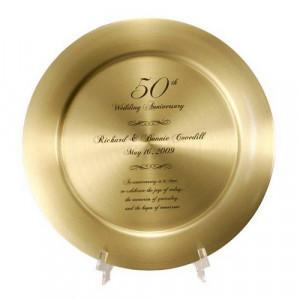 50th Anniversary Solid Brass Keepsake Plate