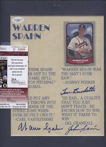 Details about Warren Spahn Sain Burdette Autographed Quote Print JSA