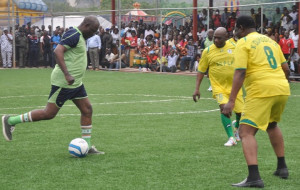 Photo News: Obasanjo @ 78, engages Amosun, others in football match