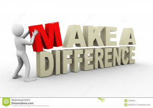 ... with make a difference phrase. 3d rendering of human people character