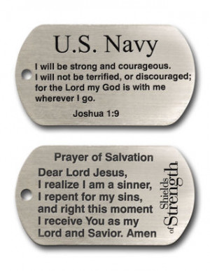 Navy Dog Tag Inspirational Scripture Necklace