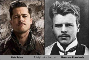 Aldo Raine Totally Looks Like Hermann Rorschach