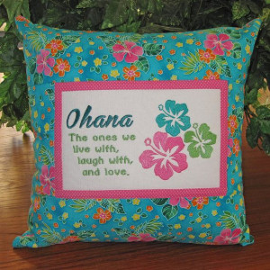 Hawaiian #Ohana #Family Embroidered Quote Pillow #Hibiscus design by ...