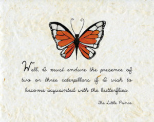 ... THE LITTLE PRINCE quote Saint Exupery nursery wall art butterfly