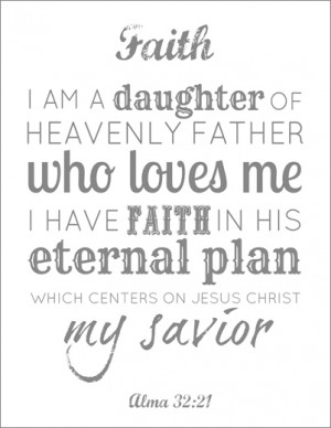 LDS Young Women Faith printable